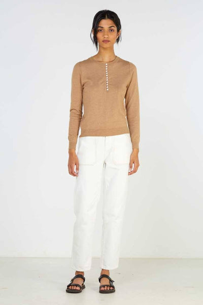 Idle Knit in Camel Marle Tops Elka Collective
