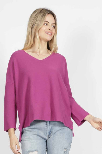 Imdie Knit in Magenta Tops SASS
