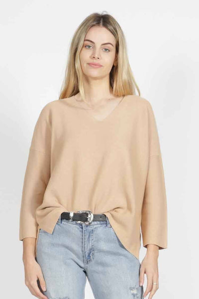 Imdie Knit in Tan Tops SASS