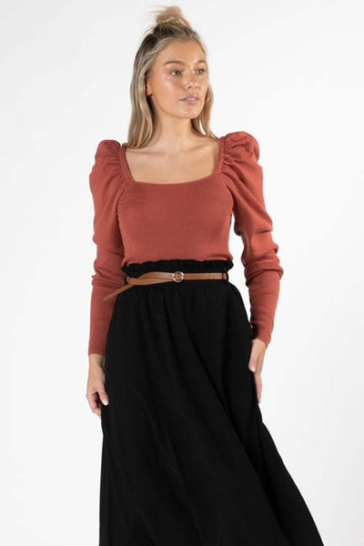 Ingrid Square Knit in Rosewood Tops SASS