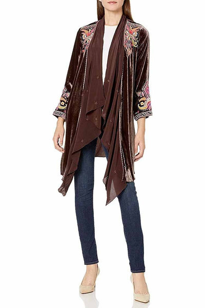 Ioana Velvet-Georgette Drape Cardigan Jackets & Outerwear Johnny Was