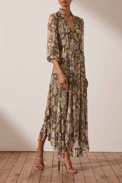 Jolie Plunged Godet Midi Dress Dresses Shona Joy