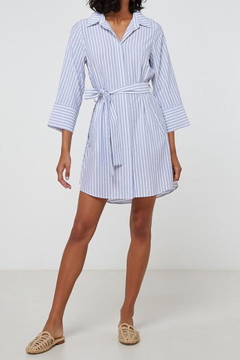 Abigale Dress in Blue Stripe
