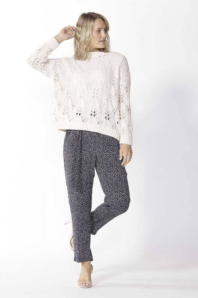 Karina Lace Knit Jumper in Bone