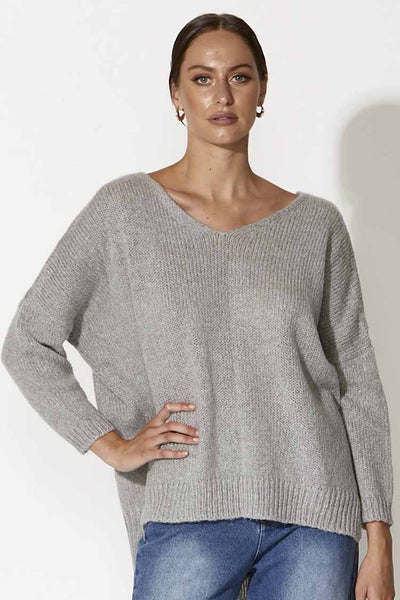 La Haine Knit in Grey Marle Tops Fate + Becker