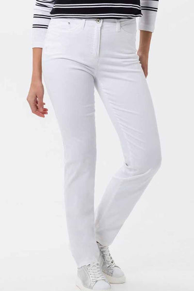Laura Touch Super Slim Trouser in White Bottoms Brax