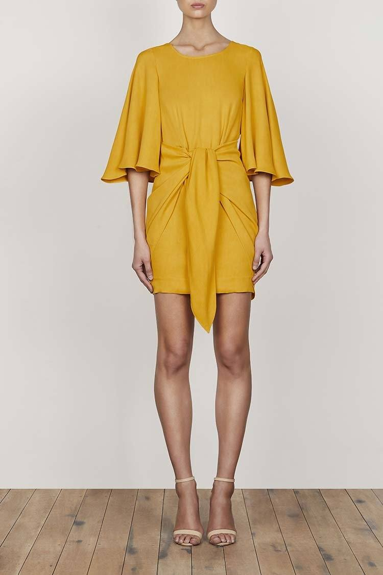 Lautner Flutter Sleeve Tie Front Dress