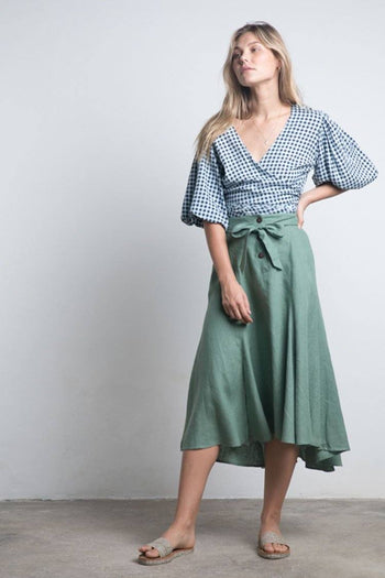Leaf Linen Skirt in Fern