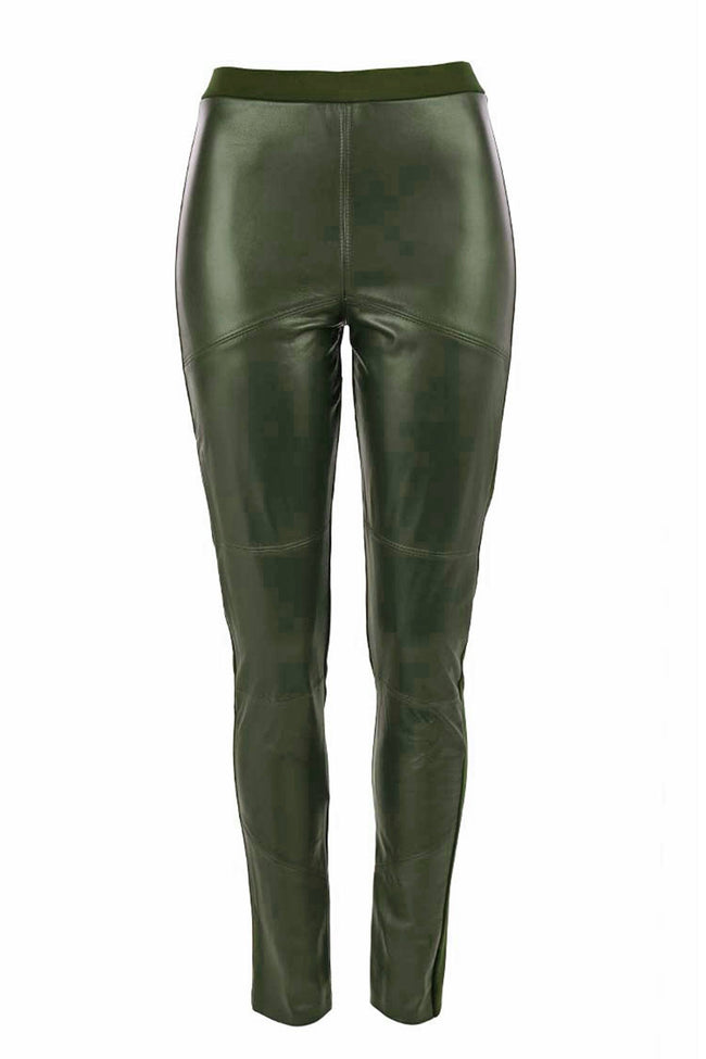 Leather Front Paneled Pant in Olive