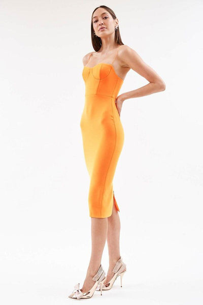 Lee Stretch Cup Midi Dress in Orange Dresses Alex Perry