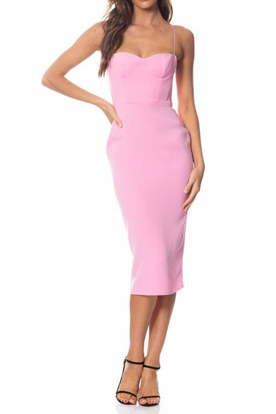 Lee Stretch Cup Midi Dress in Pink Dresses Alex Perry
