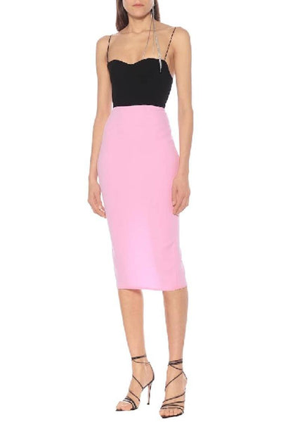 Lee Two-Tone Crepe Midi Dress in Pink Dresses Alex Perry
