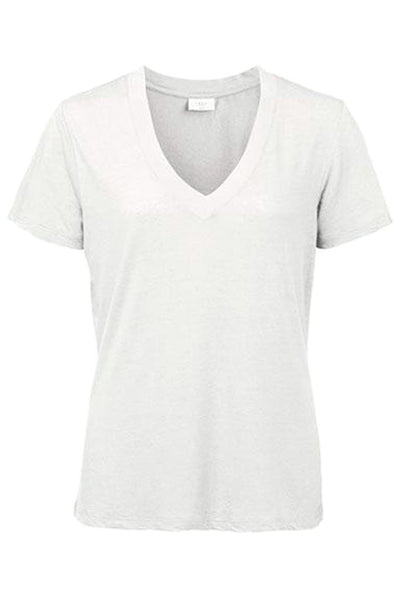 Linen SS V-neck Tee in White Tops Yaya