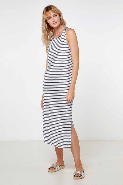 EC Linen Tank Dress 2.0 in Navy Stripe Dresses Elka Collective