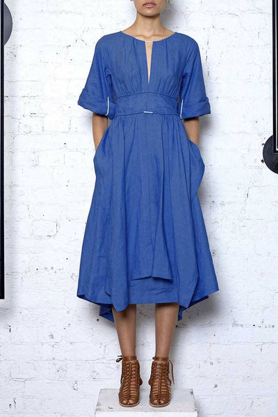 Localised Linen Dress in Blue Dresses KITX