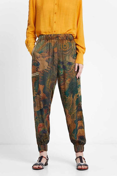 Long Floral Cargo Trousers Bottoms Desigual