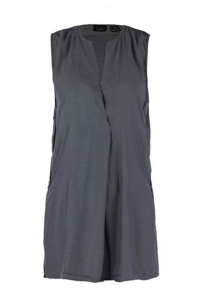 Long V-neck Tunic Vest Tops Press