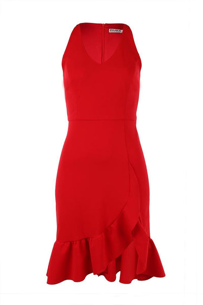 Loren Frill Skirt Dress in Red Dresses Quba