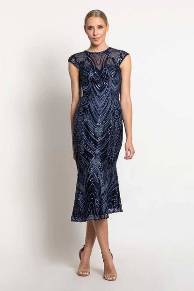 Lucy Cap Sleeve Dress in Navy Dresses Bariano