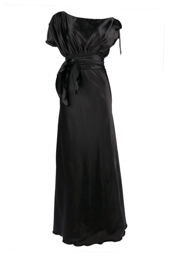 Shop Online Serena Dress in Black Poly Satin by Lucy Laurita - Leiela  Frockaholics Dresses