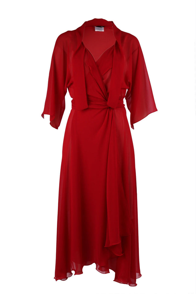 Bella Wrap in Red With Silk Slip by Lucy Laurita - Leiela Frockaholics.com