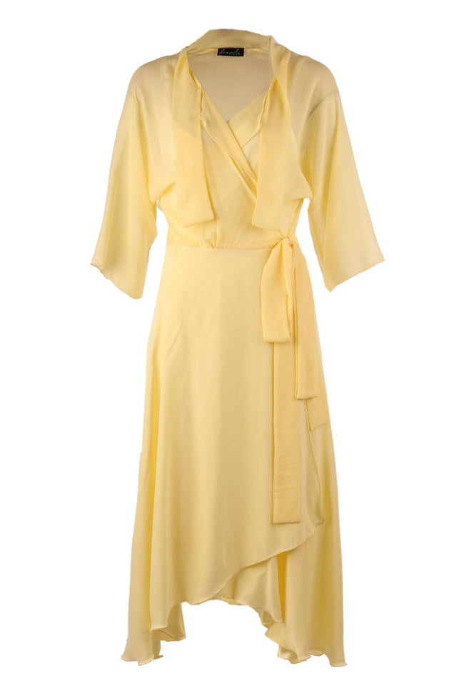 Bella Wrap in 2 Tone Lemon With Slip | Silk Crepe