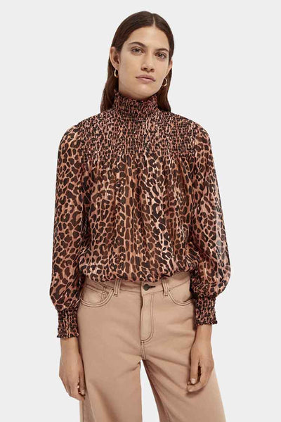 Lurex Smocking Printed Top Tops Maison Scotch