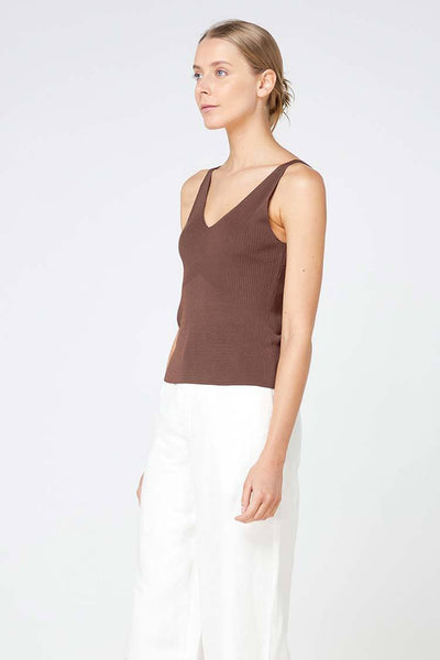 Lyon Knit Top in Chocolate Tops Elka Collective