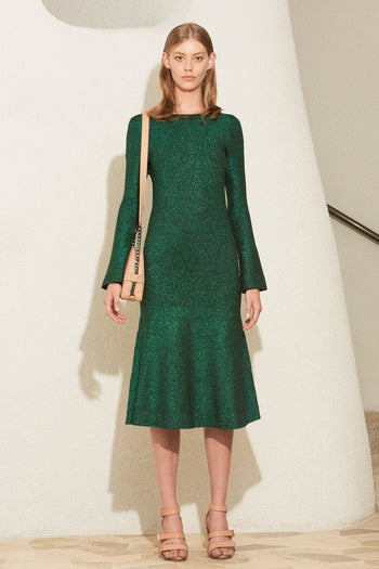 Allude Metallic Knit Dress in Emerald