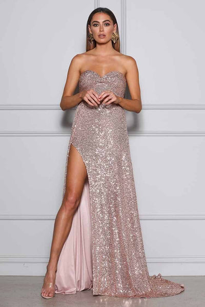 Magnolia Gown in Rose Gold Dresses Elle Zeitoune