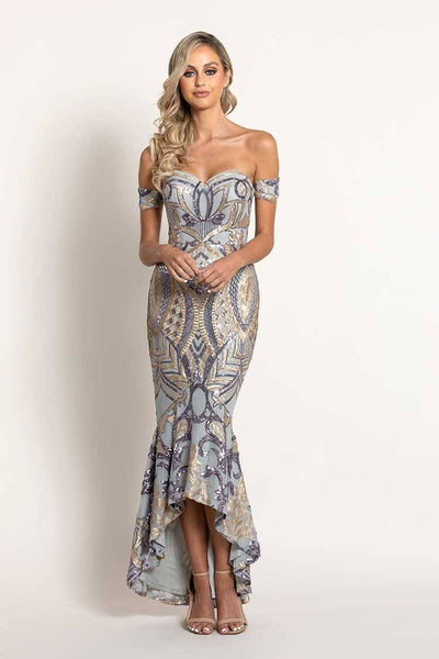 Maia Pattern Sequin Gown in Purple Ash Dresses Bariano