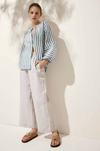Malta Shirt in Blue Stripe Tops Elka Collective