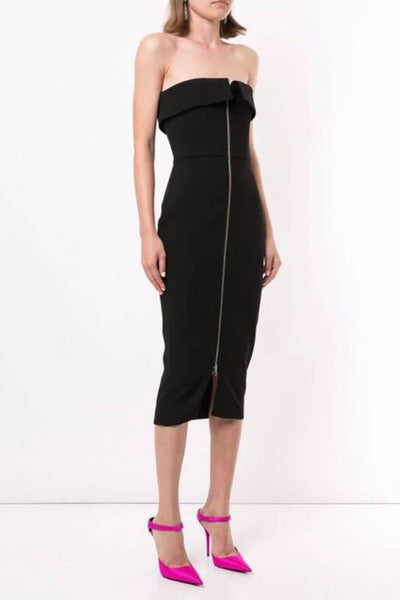 Maura Zip-Front Crepe Dress in Black Dresses Alex Perry