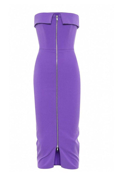 Maura Zip-Front Crepe Dress in Purple Dresses Alex Perry