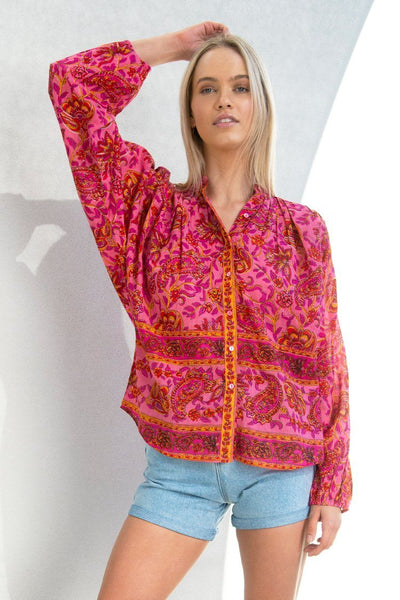 Maya Button Shirt in Paisley Red Pink Tops Lola Australia