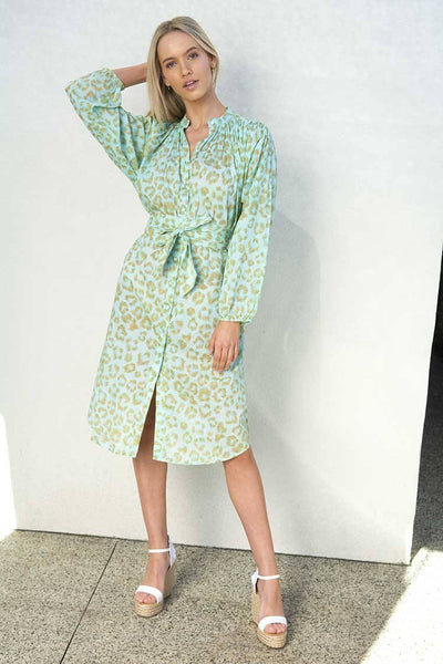 Maya Shirt Dress in Leopard Aqua Dresses Lola Australia
