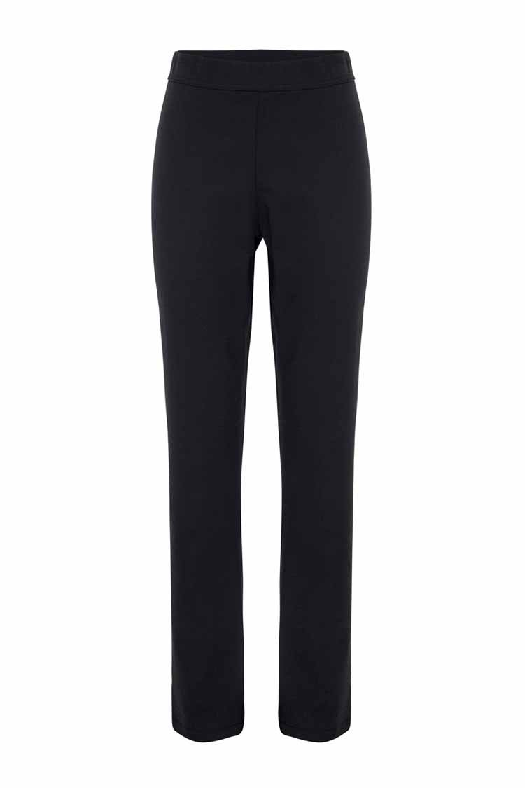 Long Slim Pongee Pant in Black