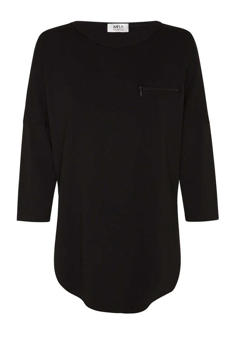 Zip Crescent Sweater in Black