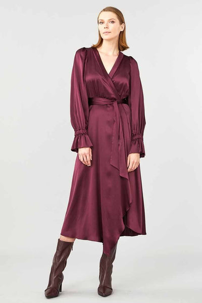 Molten Wrap Dress in Burgundy Dresses Ginger & Smart