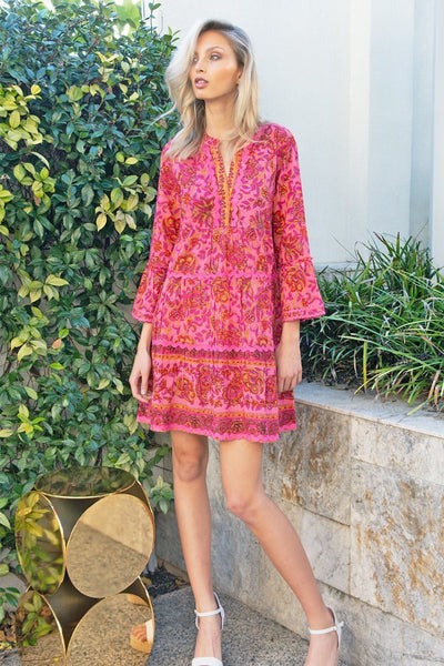 Morocco Mid Dress in Paisley Red Pink Dresses Lola Australia