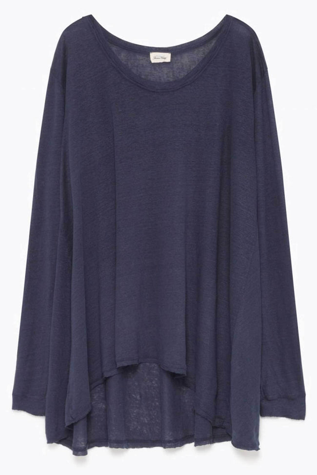 Shop Online Oversized Linen Tee in Ink by American Vintage  Frockaholics Tops
