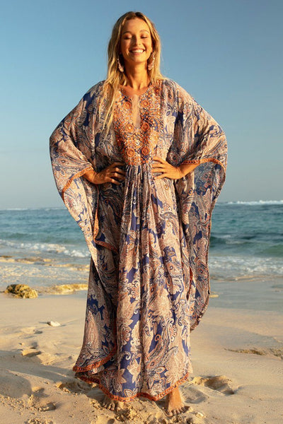 Namaskar Kaftan Dress in Blue Print Dresses Miss June
