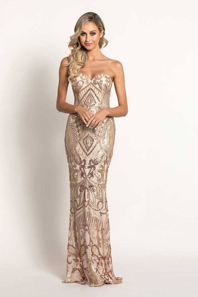 Navin Sweetheart Pattern Sequin Gown Dresses Bariano