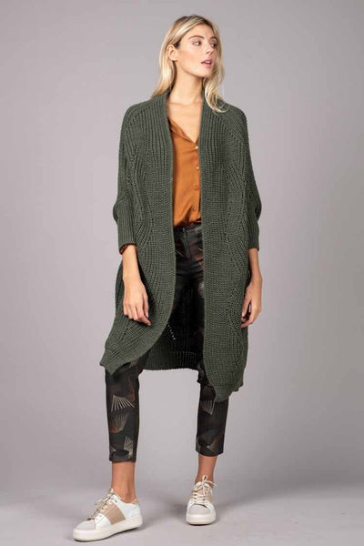 Oversized Knitted Cardi in Khaki Jackets & Outerwear Pako Litto