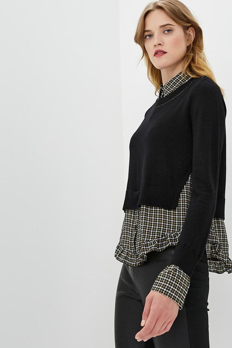 Double Layer Effect Top in Nero/Check