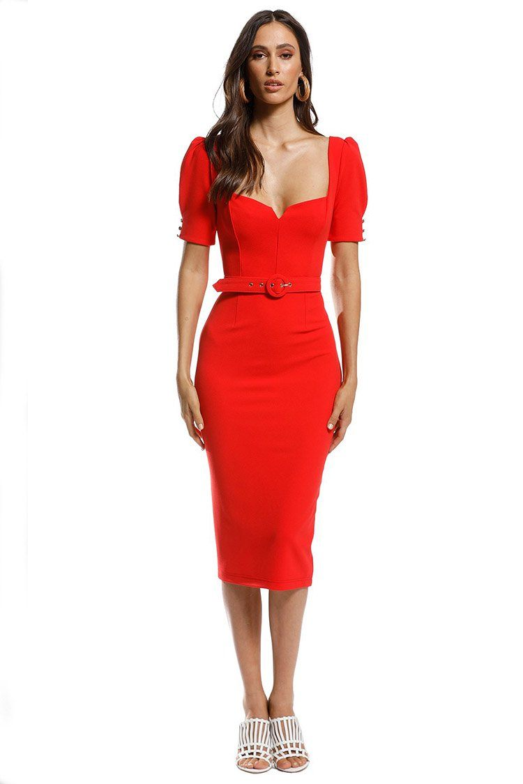 Cascade Sleeve Midi in Poppy