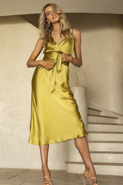 Omnia Wrap Midi Dress in Chartreuse Dresses Pasduchas