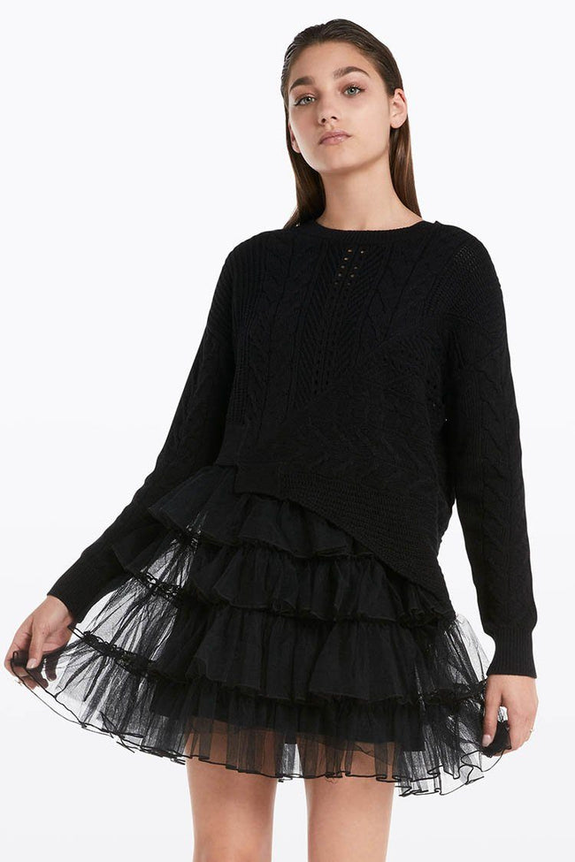 Separated-Style Dress in Black