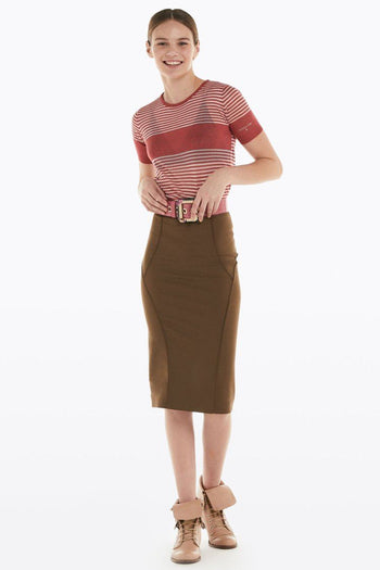 Pencil Skirt in Brown