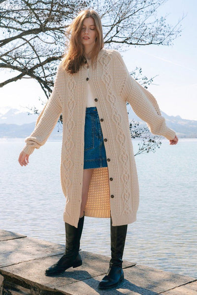 Piper Cocoon Sleeve Cable Midi Cardigan Jackets & Outerwear Shona Joy